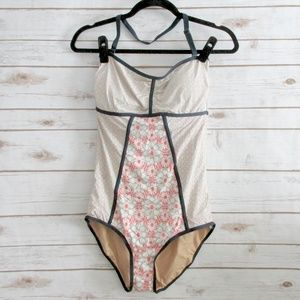 Mint Pink Floral Vintage Style Swimsuit